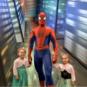 The girls with Spiderman
