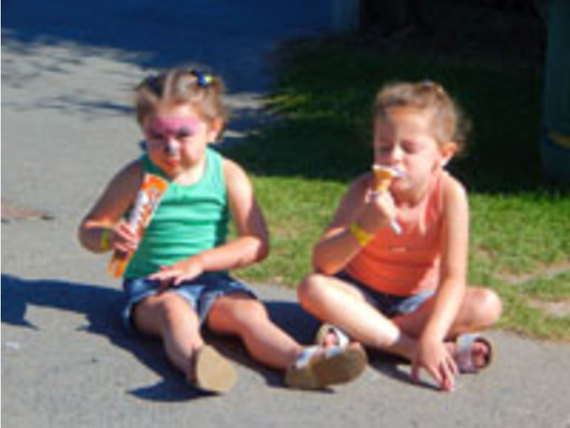 Ice creams on a sunny day