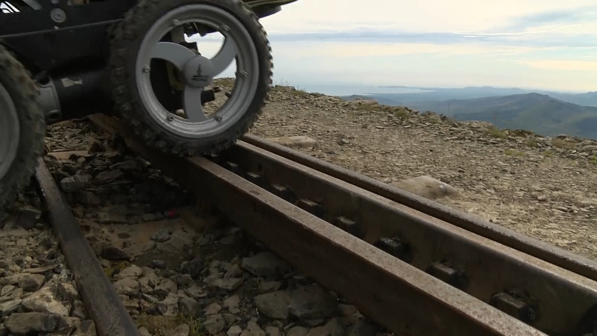 Mount Snowdon - navigating the wheel-chair over the tracks